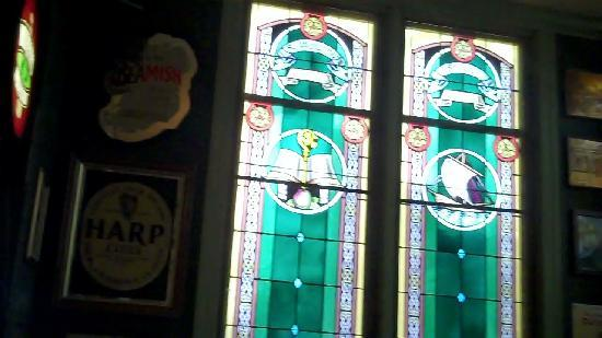 County Clare Irish Inn and Pub: stained glass in the pub