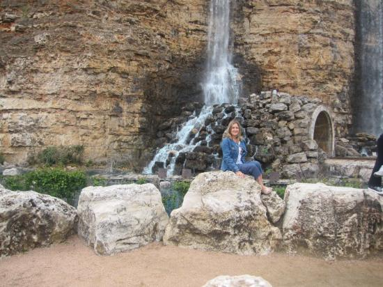 Six Flags Fiesta Texas: Me in front of the water fall train tunnel Fiesta Texas