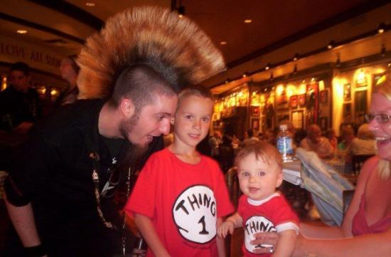 Universal's Islands of Adventure: This guy's hair was so cool I had to get a pic of him with the boys