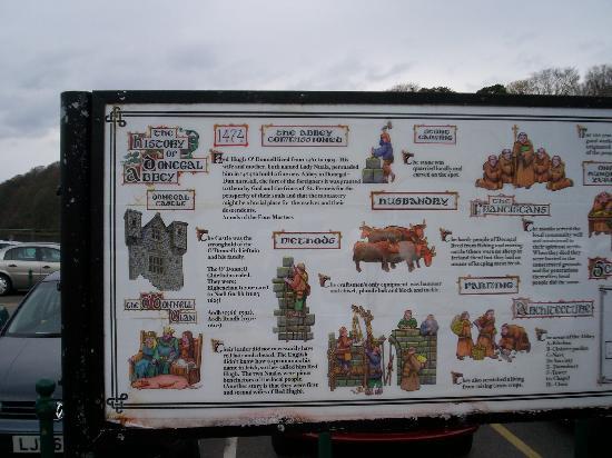 Ballybofey, Irland: history board of Donegal