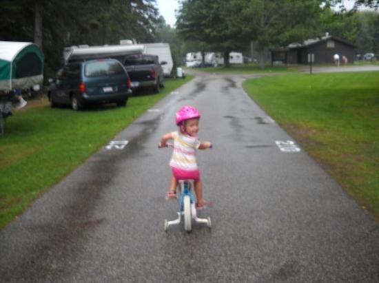 Brimley State Park: carmen riding her bike
