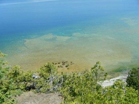 Blues and Greens on sand in Lake Huron from Arch Rock view on Mackinac Island