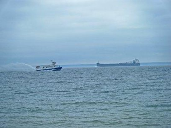Starline Ferry and Freighter on Lake Huron off Mackinac Island