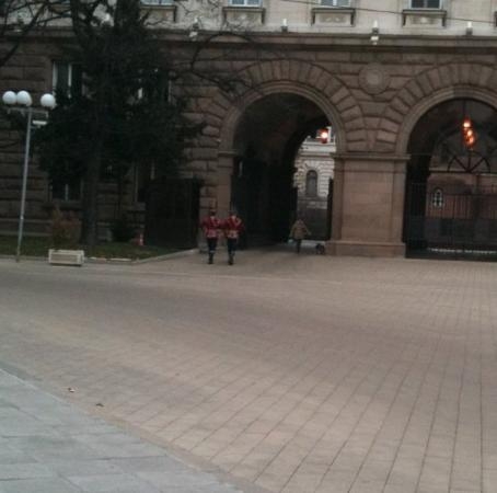 Sofia, Bulgaria: Changing of the guard at the Bulgarian Presidential Offices.