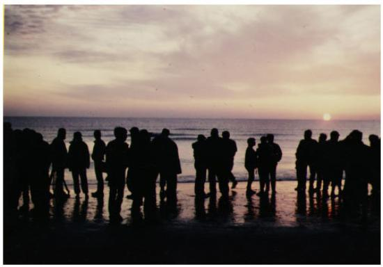"""Arromanches-les-Bains, Frankrike: """"First Light at Omaha Beach,"""" Normandy, France; D-Day Plus Forty: 6 June 1984"""