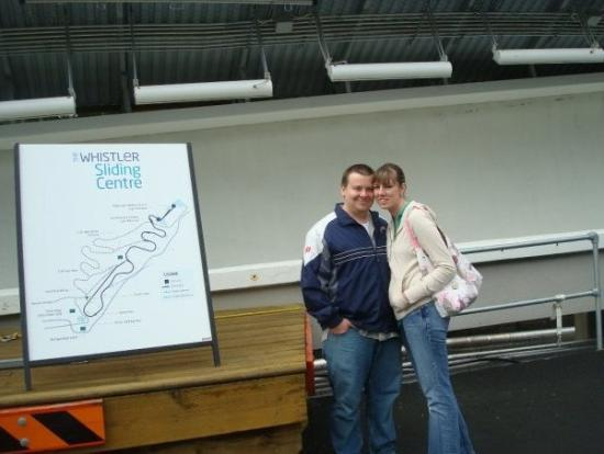 Brooke and I in Whistler this last summer.  That's the bobsled/luge run behind us.