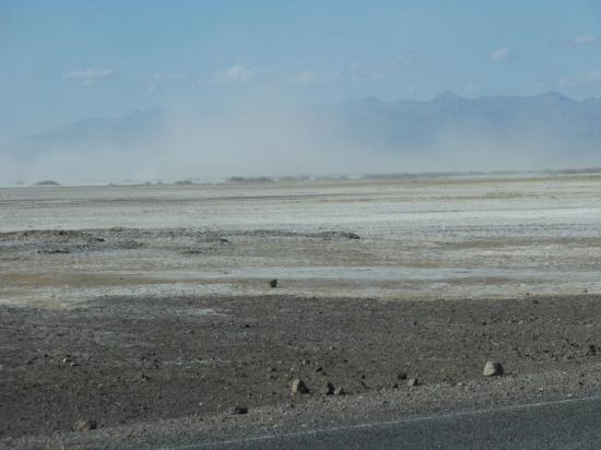 Death Valley National Park, CA: Dust storm over Furnace Creek.