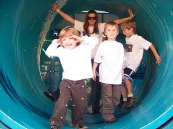 Shreveport, LA: Christy, Myles, Ayden and Ryder in the Tidal Wave in the funhouse
