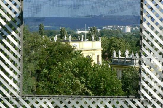 Kassel, Tyskland: Overlooking a part of the town.  The frame is actually a piece of art that they have, but it's s