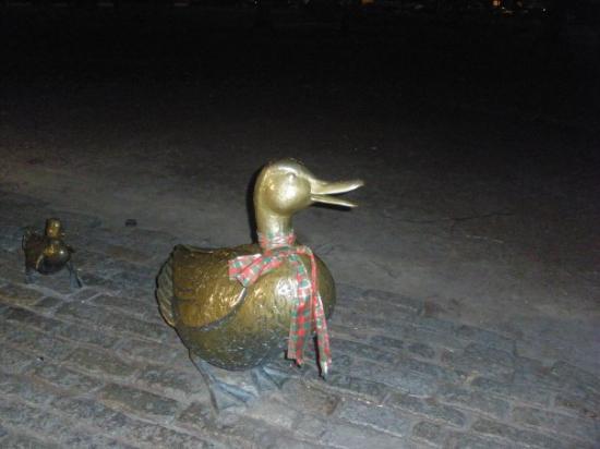 "Boston Public Garden: Mrs Mallard of ""Make Way For Ducklings"" a famous childrens story"