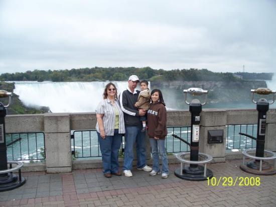 Niagara Falls: Niagra Falls, Canada early this Fall. Debbie with son Matthew, holding his son Aiden, Crystal