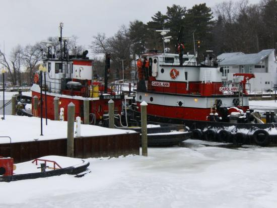 Ice Cutter Muskegon and Carol Ann outside our room at the Bayside Inn - Saugatuck, MI