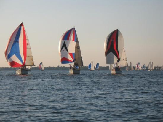 Every Weds night during summer, over 100 sailboats compete in several fleets off Buffalo harbor.