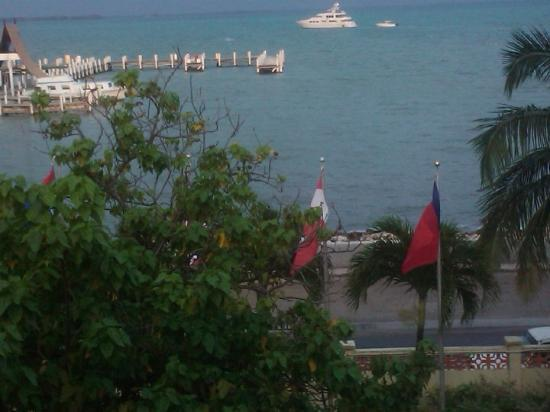 Belize by, Belize: View from hotel room, notice the Canadian flag
