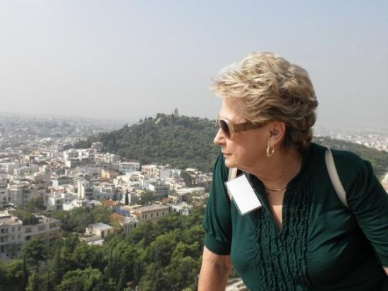 Hilton Athens: Jo Owens looking at Athens from Hilton hotel rooftop restaurant.