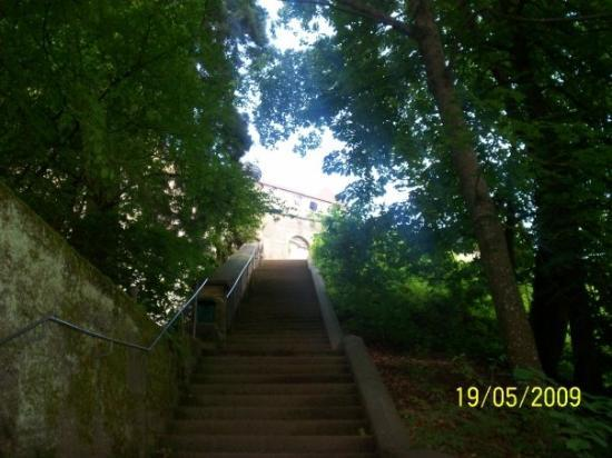 Coburg, Tyskland: One of the final stairways up to the castle.