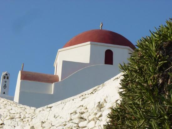 Mykonos by, Hellas: Church on the hill
