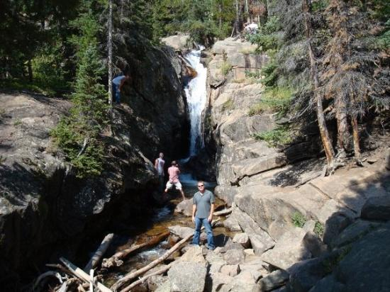 Estes Park, CO: Chuckie and a waterfall.