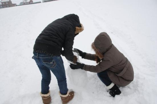 Overijse, Belgia: ปั้นตุ๊กตาหิมะกัน