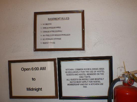 Gardner Hotel: rules for the basement