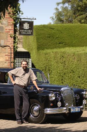 Barossa Daimler Tours: John and the Daimler at Henshcke Wines