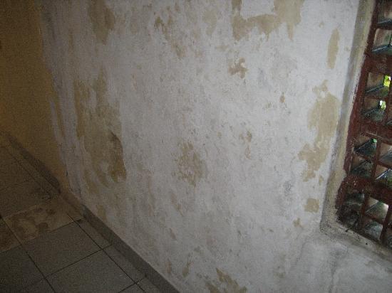 Champlung Mas Hotel: De gang naar de kamer, en de kamer zijn de muren van kalk verf ontdaan en beschimmeld met grote