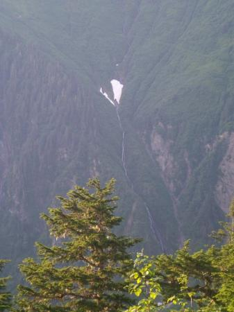 Beautiful waterfall in Juneau. This photo was taken at 8:30 in the evening while on a hike!