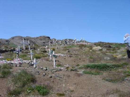 The rocky graveyard in Kulusuk, Greenland