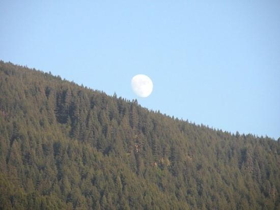 Hood River, OR: The moon over the mountains at the gorge