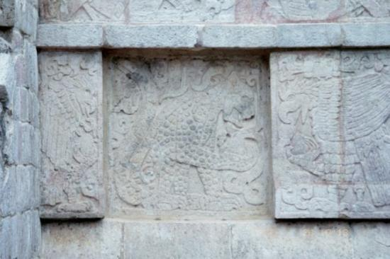 Chichen Itza, Mexico: Some very intricate carvings, one of a Jaguar and one of a Quetzal Bird, according to our guide.