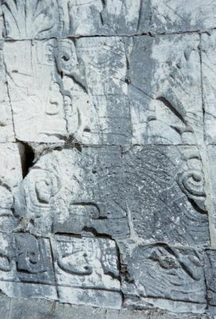 Chichen Itza, Mexico: More carvings...Can you see the arterial blood spewing from the neck of the victorious player? Y