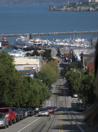 Cable Cars: View from the Cable Car down to Fishermans Wharf