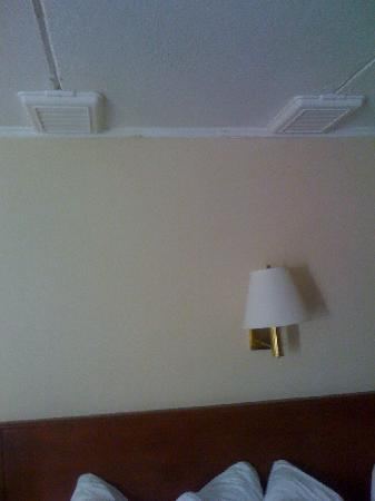 Quality Inn & Suites North: Drip Pans Above the Bed!!!