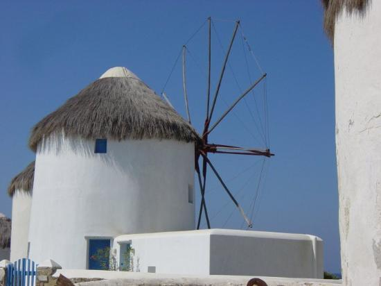 Mykonos by, Hellas: Old windmill on the town quay