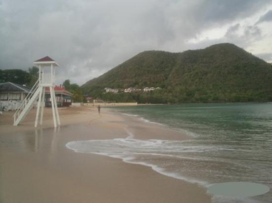 Castries, St. Lucia: The beach at 6:30 for my morning swim