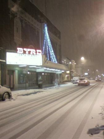 Richmond, VA: The infamous and historic Byrd Theater....being covered in snow.  = )