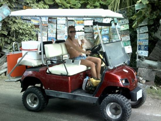 Harbour Island: me on my red golf cart at Harbor Island