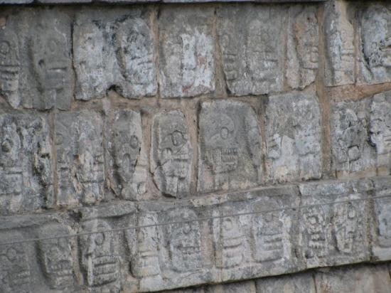 The Wall of Skulls at Chichen Itza