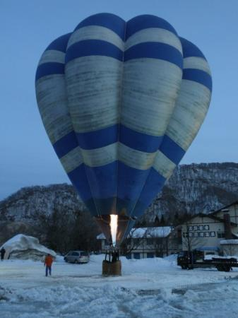 Towada, Japan: They had a hot air balloon!  But it spent more time tipped over due to the wind than actually up