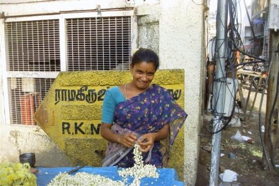 Chennai (Madras), India: first day in India..sweet smell of Jasmin everywhere, along with garbage and manure in slums and