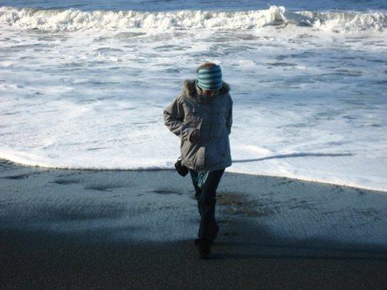 Agate Beach: me running away from the ocean!