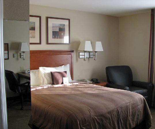 Candlewood Suites Alabaster: bed w/mirror showing edge of desk