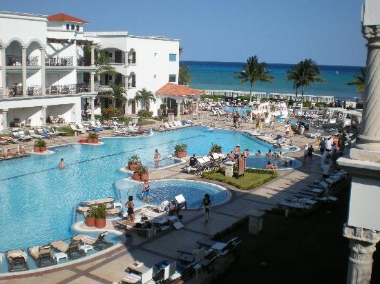 The Royal Playa del Carmen: view of one of the pools from our balcony