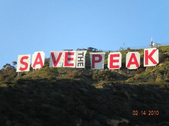 Hollywood Orchid Suites: save the peak sign was there for 5 days while we were there and then it came down
