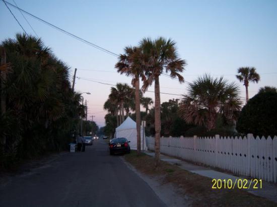 Jacksonville, FL: sunrise over our little volunteer tent