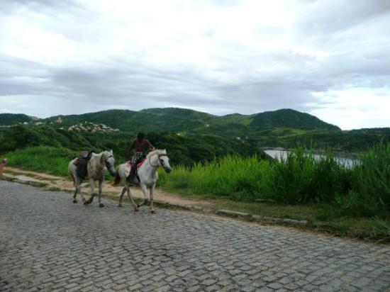 Buzios, RJ: When we first arrived at the beach house, this boy and his two horses came by ... not everyday I