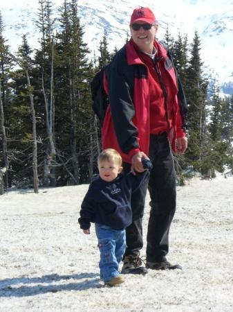 "Skagway, AK: Spencie walking on ""Canadian"" snow"
