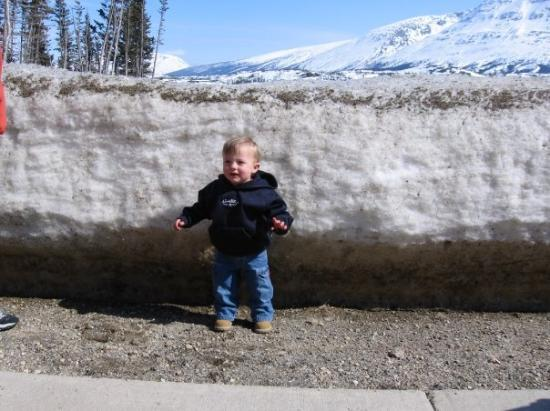 Skagway, AK: Snow in Canada is taller than Spencer still!