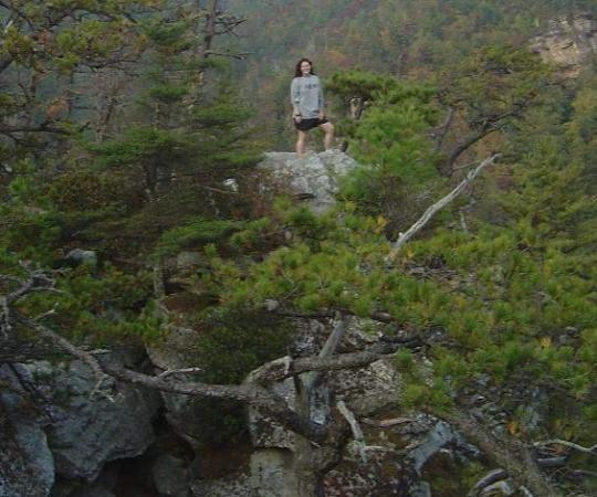 Morganton, NC: after i climbed all the way to the top and jumped across a few mtns.  lynville gorge, nc  2004