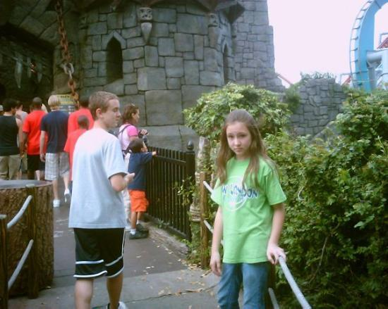 Universal's Islands of Adventure: Alek and Autumn getting ready to ride the DUELING DRAGONS!!!